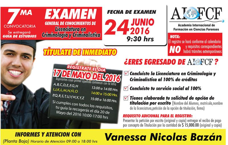 Convocatoria examen Licenciatura en Criminología y Criminalística
