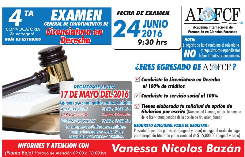 Convocatoria Examen Licenciatura en Derecho
