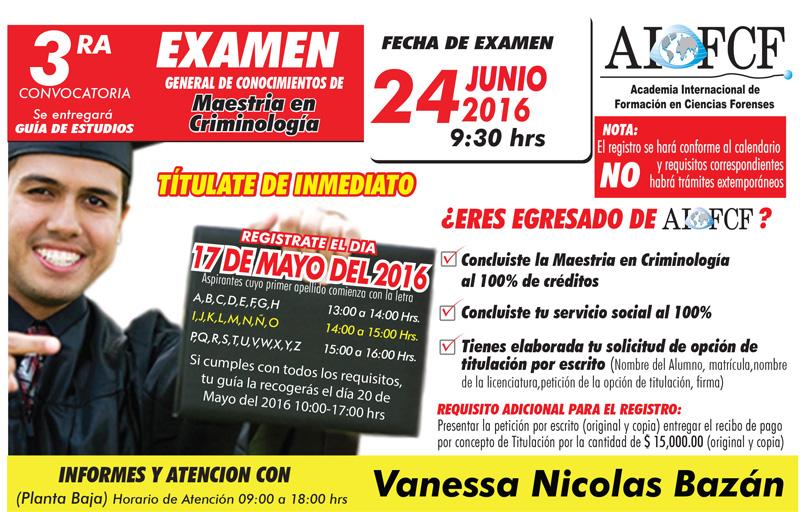 Convocatoria Examen Maestria en Criminología