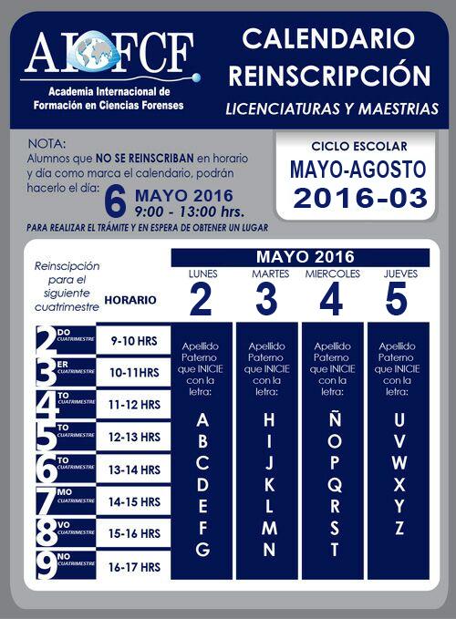 Calendario reinscripción licenciaturas y maestrías